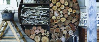 дрова для камина в оригинальной дровницы