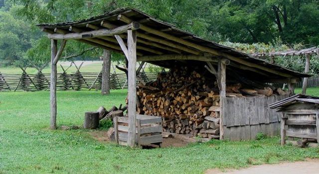 односкатный навес для дров