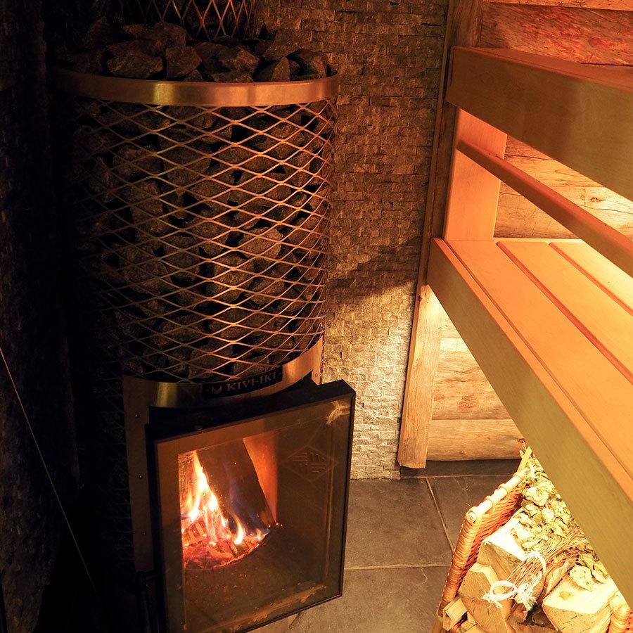 печь финка с каменкой открытого типа