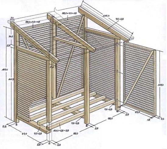 чертеж дровника с размерами с односкатной крышей