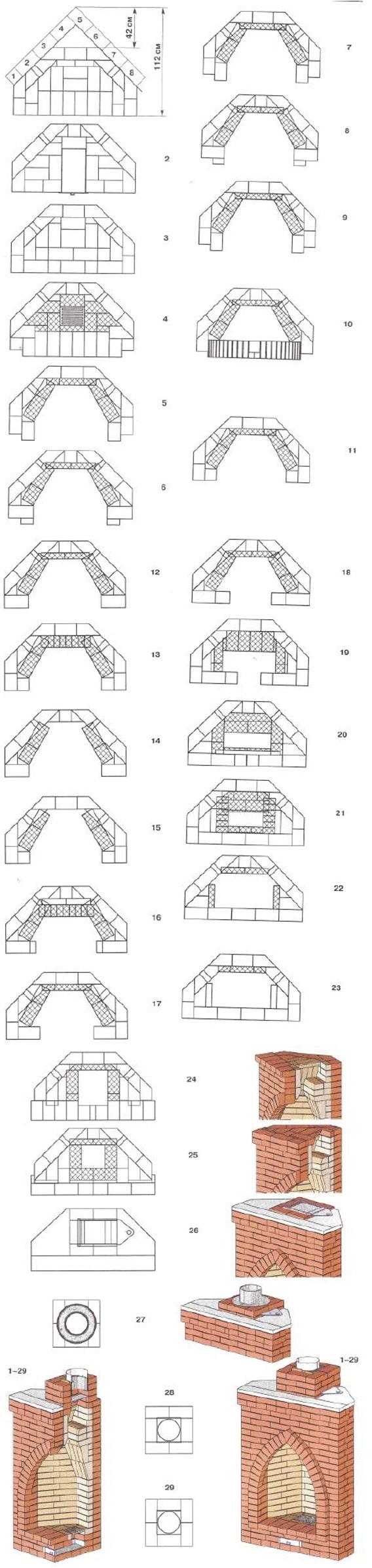 Чертеж углового камина с высокой аркой