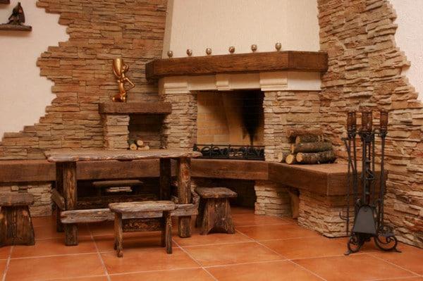 Применение декоративной плитки в отделке камина