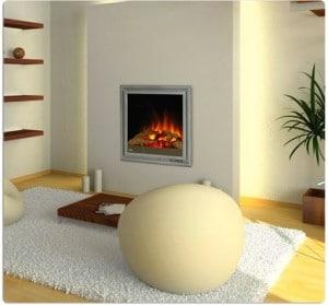 интерьер гостиной с электрокамином