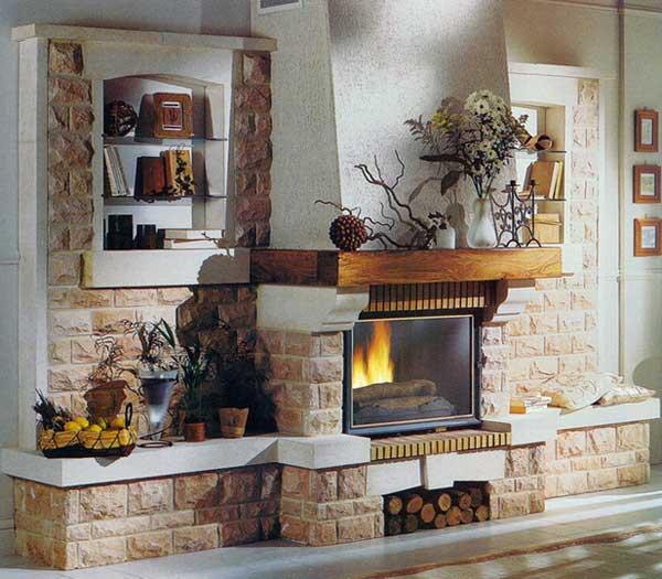 Пример отделки камина плиткой