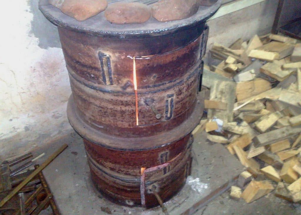 Печь для бани своими руками из колесных дисков